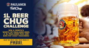 beer chugging competition for beer lovers in Singapore, featuring Paulaner beer for Oktoberfest at Fat Chap