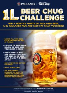 beer chugging competition with paulaner at Fat Chap with 1 litre beer, compete with friends as party games, drinking games for friday night in Singapore