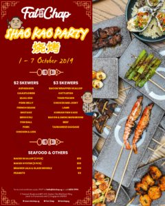 Fat Chap's skewer shao kao party menu with over 20 options of skewers and baked seafood for all to enjoy, starting from 1st October to 7th October at Fat Chap, Suntec City